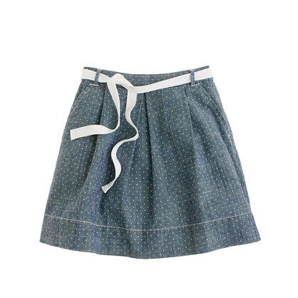 Girls' pindot chambray skirt