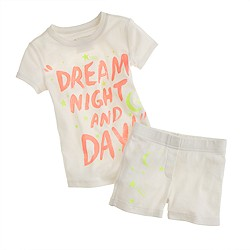 Girls' short-sleeve sleep set in glowing stars