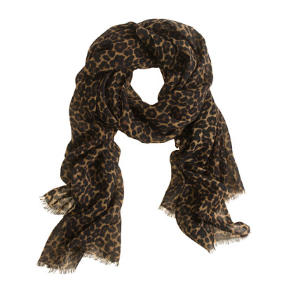 Animal-print wool scarf