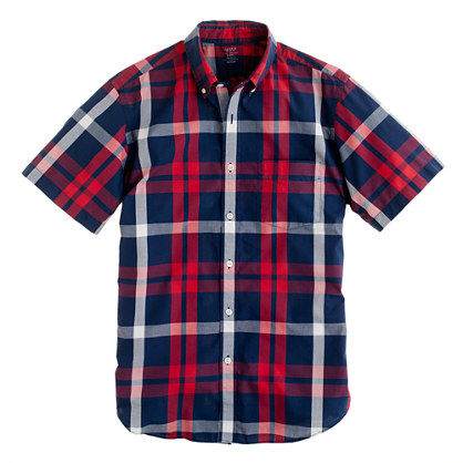 Lightweight short-sleeve shirt in vintage navy plaid