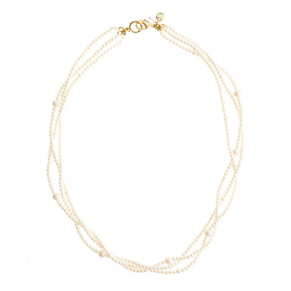 Girls' triple-strand pearl necklace