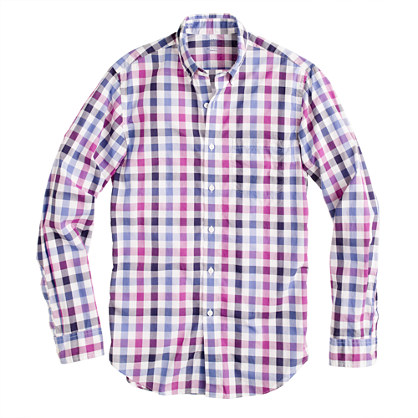 Tall Secret Wash shirt in purple check