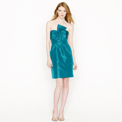 Bow monde dress in silk taffeta
