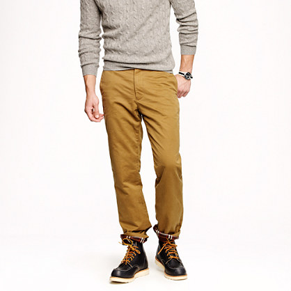 Flannel-lined chino in regular fit