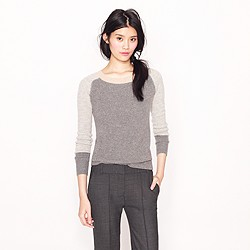 Collection cashmere waffle colorblock sweater