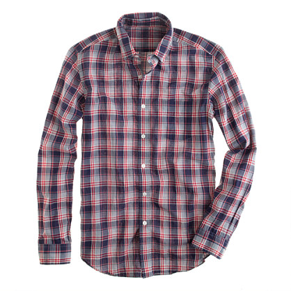 Lightweight chambray shirt in bright indigo plaid