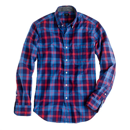 Slim tartan shirt in porter blue