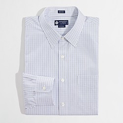 Factory point-collar dress shirt in small tattersall