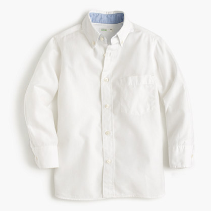 Boys' Secret Wash shirt in white poplin