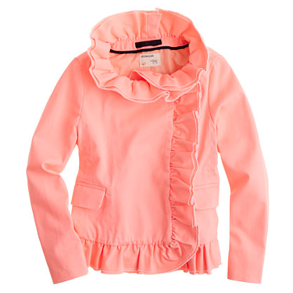 Girls' chino ruffle jacket