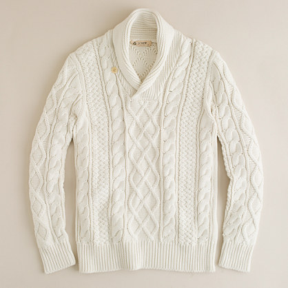 Cotton fisherman-knit cable sweater