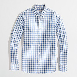 Factory slim washed shirt in plaid