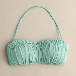 D-cup shirred ruffle bandeau top