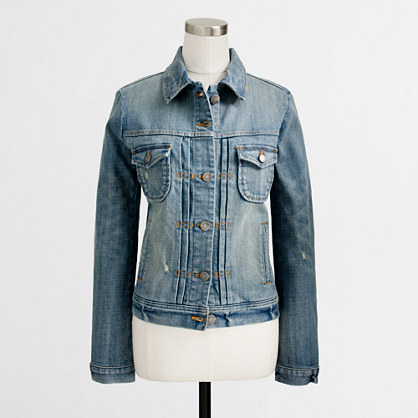 Factory denim jacket in antique sanded blue wash