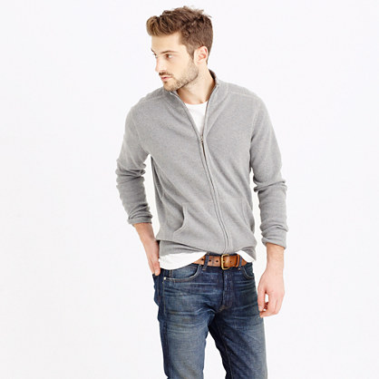 Cotton-cashmere zip sweater