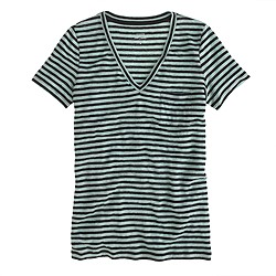 Linen V-neck tee in stripe