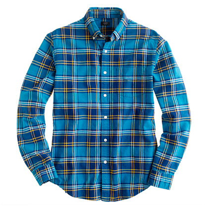 Oxford plaid shirt in Matisse blue