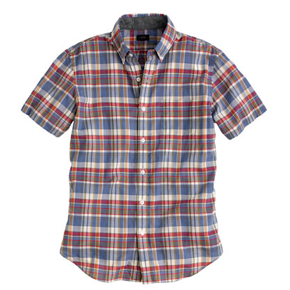 Indian cotton short-sleeve shirt in blue plaid