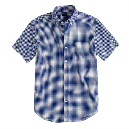 Short-sleeve shirt in bright indigo gingham