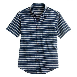 Secret Wash short-sleeve shirt in indigo stripe