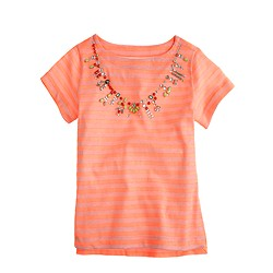 Girls' neon stripe necklace tee