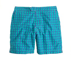 "7"" board shorts in royal mint gingham"