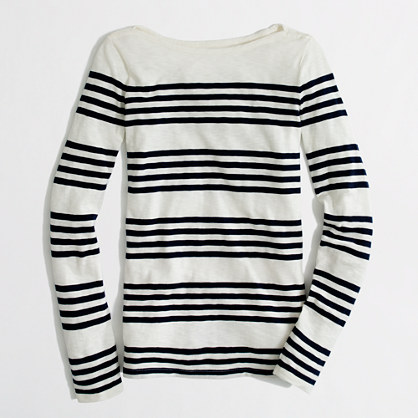 Factory artist boatneck tee in multistripe