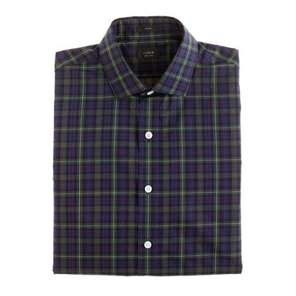 Ludlow spread-collar shirt in pack green tartan