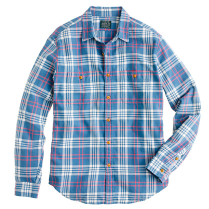 Slim flannel shirt in academic blue plaid