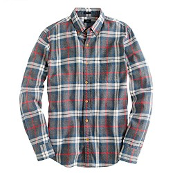 Slim brushed twill shirt in dark Danbury red plaid