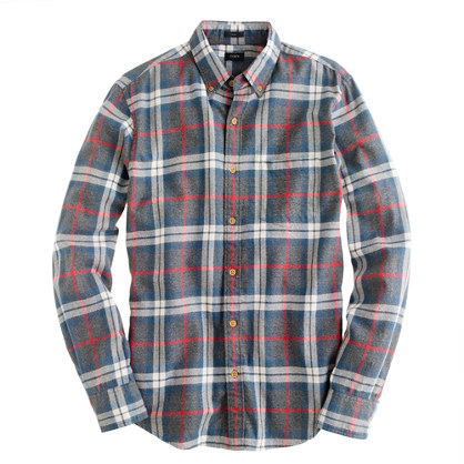 Slim brushed twill jaspé shirt in plaid