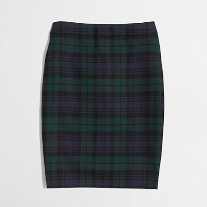 Factory pencil skirt in black watch plaid