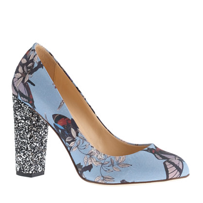 Etta glitter-heel pumps in hummingbird floral