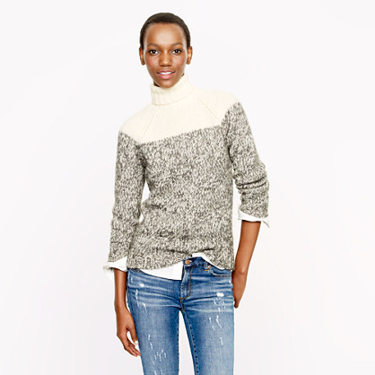 Colorblock wool turtleneck sweater