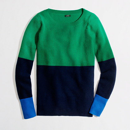 Factory colorblock cashmere waffle sweater