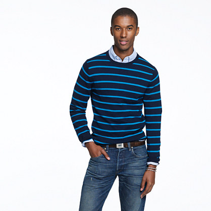 Merino crewneck sweater in contrast stripe