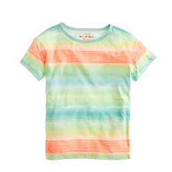 Girls' relaxed tee in tie-dye stripe