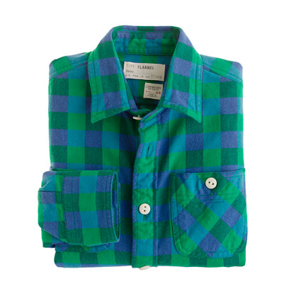 Boys' flannel shirt in green buffalo check
