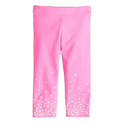 Girls' everyday capri leggings in heart hem
