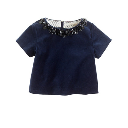 Girls' jeweled velvet top