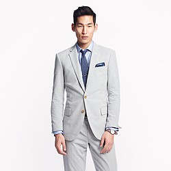Ludlow suit jacket with center vent in Japanese seersucker