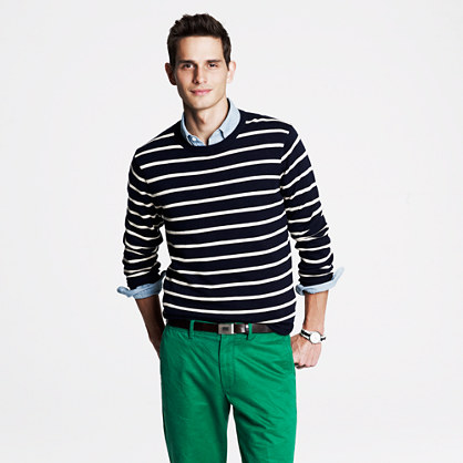 Cotton crewneck sweater in navy stripe