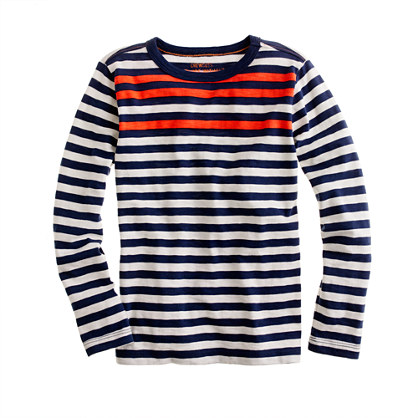 Boys' long-sleeve slub tee in colored stripe
