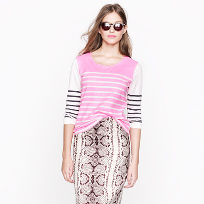 Printed colorblock stripe top
