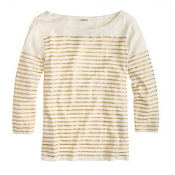 Engineered-stripe boatneck top