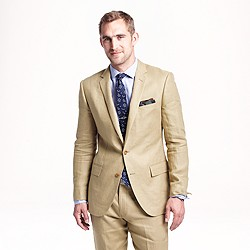 Ludlow suit jacket with center vent in Irish linen