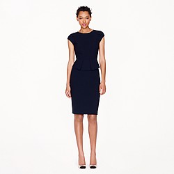 Petite peplum dress in stretch wool