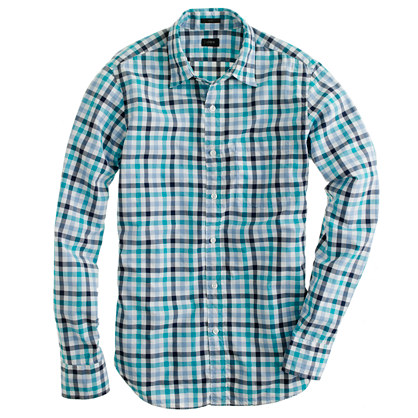 Secret Wash shirt in turquoise check
