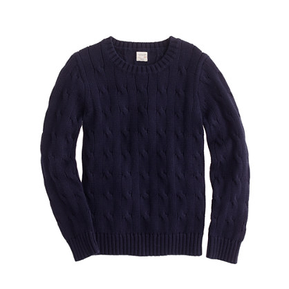 Boys' cable crewneck sweater