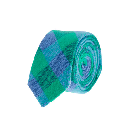 Boys' green buffalo check tie